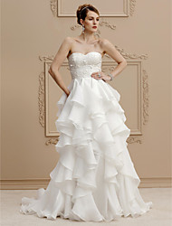 cheap -A-Line Princess Sweetheart Sweep / Brush Train Lace Organza Wedding Dress with Cascading Ruffle by LAN TING BRIDE®