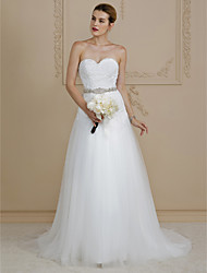 cheap -A-Line Sweetheart Court Train Lace Tulle Wedding Dress with Beading Appliques Buttons by LAN TING BRIDE®