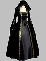 Medieval Costume Female Party Costume Masquerade Black Vintage Cosplay Satin Sleeveless Floor Length