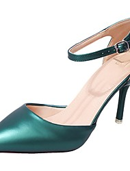 Women's Heels Basic Pump Summer PU Dress Stiletto Heel Dark Green Wine Beige Black 3in-3 3/4in