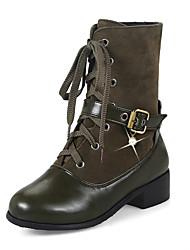 Feminino Sapatos Pele Nobuck Courino Outono Inverno Botas da Moda Coturnos Botas Salto Grosso Salto de bloco Ponta Redonda Botas Cano