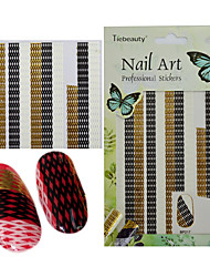 cheap -1pcs Fashion Simple Style Mixed Color Black White Gold Geometric Stripe Lace Nail Art 3D Sticker DIY Decoration BP217