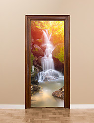 cheap -77*200cm 3D Waterfall Door Mural Sticker 3D Beautiful Scenery View Decorative Rock Falls Tree Door Mural Decal Home Decor for Living Room