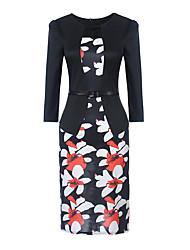 Moulante Robe Femme Décontracté / Quotidien Vintage,Imprimé Asymétrique Mi-long Manches Longues Polyester Spandex Toutes les Saisons