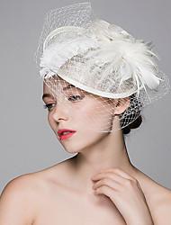 Недорогие -льняные перья шляпы зажим для волос головной убор классический женский стиль