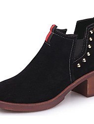 cheap -Women's Shoes Suede Fall Combat Boots Boots Chunky Heel Round Toe Beading For Casual Green Brown Black