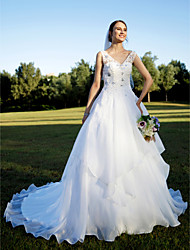 cheap -A-Line V Neck Chapel Train Organza Custom Wedding Dresses with Beading Appliques Crystal Detailing by LAN TING BRIDE®