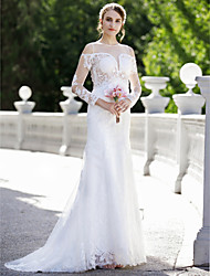cheap -Mermaid / Trumpet Plunging Neckline Sweep / Brush Train Lace Satin Wedding Dress with Appliques by LAN TING BRIDE®