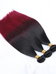 economico -Capelli umani brasiliani unprocessed dei capelli di 3pcs 300g 12-26inch vergini due toni 1b / 99j # capelli di ombre tessuti