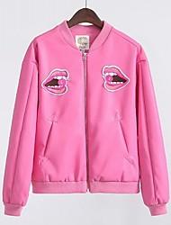 Damen Solide Druck Einfach Ausgehen Lässig/Alltäglich Jacke,Ständer Frühling Herbst Lange Ärmel Standard PU Leder