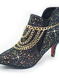 Women's Boots Fashion Boots Bootie Fall Winter Sparkling Glitter Paillette Synthetic Casual Party & Evening Sequin Gore Chain Stiletto