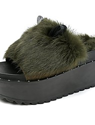 Women's Shoes Feather/ Fur Fall Comfort Slippers & Flip-Flops Creepers Round Toe For Casual Dark Green Gray Black
