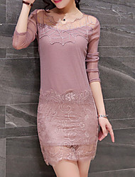 Women's Going out Casual/Daily Simple Sheath Dress,Solid Asymmetrical Above Knee Long Sleeves Polyester Fall Winter Mid Rise Inelastic