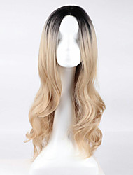 cheap -Synthetic Wig Wavy Blonde Synthetic Hair Ombre Hair / Dark Roots / Middle Part Blonde Wig Women's Long Capless