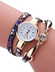 abordables -Mujer Cuarzo Simulado Diamante Reloj Reloj Pulsera Chino Gran venta PU Banda Encanto Vintage Casual Elegant Moda Negro Azul Gris Dorado