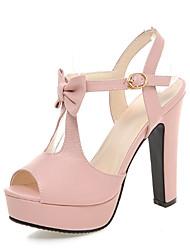 preiswerte -Damen Schuhe PU Frühling Sommer Komfort Neuheit Sandalen Peep Toe Schleife Schnalle Für Party & Festivität Weiß Schwarz Blau Rosa
