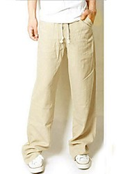 Men's Mid Rise Micro-elastic Wide Leg Chinos PantsVintage Simple Loose Solid