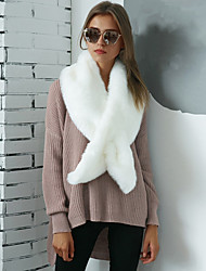 Women's Rabbit Fur Fur Rectangle Infinity Scarf Solid Fall Winter