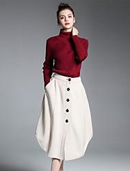 Feminino Camisa Saia Conjuntos Casual Trabalho Simples Primavera Outono Inverno,Sólido Gola Alta Manga Longa Micro-Elástica