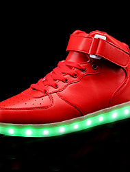 Women's Shoes Leather Spring Summer Light Up Shoes Comfort Sneakers Flat Heel Closed Toe LED Lace-up For Casual Red