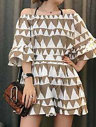 Damen Muster Einfach Lässig/Alltäglich T-Shirt-Ärmel Hose Anzüge,Bateau Sommer Halbe Ärmel Mikro-elastisch