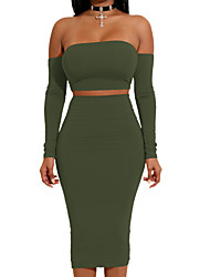cheap -Women's Daily Club Casual Sexy Spring Fall T-shirt Skirt Suits,Solid Simple Sexy Strapless Long Sleeve Backless Polyester Micro-elastic