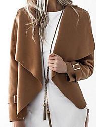 preiswerte -Damen Solide Einfach Freizeit Ausgehen Standard Mantel, Kapuze Winter Herbst Kunstseide