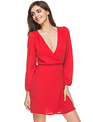 Women's Holiday Club Loose Sheath Dress,Solid V Neck Above Knee Long Sleeves Polyester Fall Winter High Rise Inelastic Thin