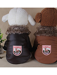 economico -Cane Cappottini Abbigliamento per cani Geometrico Nero Rosso Cachi Cotone Piume Pelliccia Costume Per animali domestici Casual