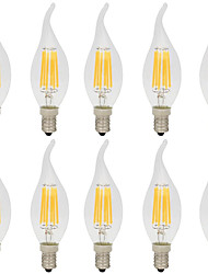 abordables -10pcs 6W 560lm E14 Ampoules à Filament LED CA35 6 Perles LED COB Décorative Blanc Chaud Blanc Froid 220-240V
