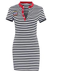 economico -T Shirt Vestito Da donna-Per uscire A strisce Monocolore Colletto alla coreana Sopra il ginocchio Manica corta Altro Estate A vita