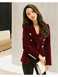 Women's Casual/Daily Work Simple Fall Suit,Solid Shirt Collar Long Sleeve Regular Polyester