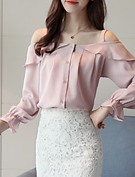 Women's Going out Casual/Daily Sexy Simple Fall Winter Blouse,Solid Boat Neck Long Sleeves Polyester Medium