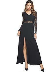 Women's Party Going out Sexy Sheath Swing Dress,Solid Patchwork V Neck Maxi Long Sleeves Polyester Fall Mid Rise Micro-elastic Medium