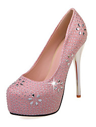 cheap -Women's Shoes PU Spring Fall Comfort Novelty Wedding Shoes Stiletto Heel Pointed Toe Crystal for Wedding Party & Evening Gold Silver Pink