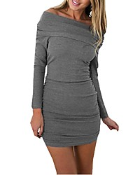 Women's Casual/Daily Sexy Bodycon Dress,Solid Boat Neck Mini Long Sleeves Wool Spring Fall Mid Rise Micro-elastic Thick