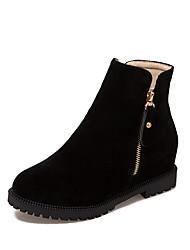 Для женщин Обувь Нубук Дерматин Осень Зима Модная обувь Ботильоны Ботинки На плоской подошве Круглый носок Ботинки Молнии Назначение