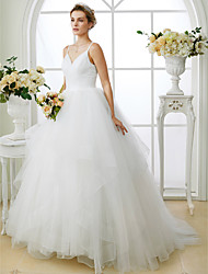 cheap -Ball Gown Spaghetti Straps Sweep / Brush Train Tulle Wedding Dress with Criss Cross by LAN TING BRIDE®