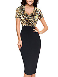 Women's Plus Size Going out Sexy Street chic Bodycon DressLeopard V Neck Midi Short Sleeves Polyester Summer Fall High Rise Micro-elastic