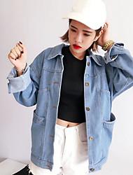 abordables -Veste en jean Femme Quotidien Chic de Rue Automne Manches longues Col de Chemise Normal Autres Imprimé