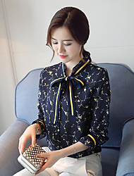 Women's Casual/Daily Work Simple Spring Fall Blouse,Print Stand Long Sleeves Polyester Thin