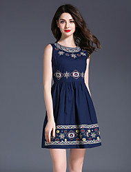 Women's Party Going out Casual/Daily Sexy Vintage Simple A Line Sheath Dress,Embroidered Round Neck Knee-length Sleeveless Polyester