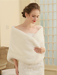 cheap -Faux Fur Wedding Party / Evening Women's Wrap With Buttons Fur Shawls