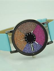 Недорогие -Жен. Модные часы Наручные часы Кварцевый Цветной Кожа Группа На каждый день Черный Белый Синий Красный Зеленый Фиолетовый Роуз