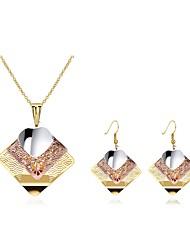 billige -Dame Smykkesæt - Guldbelagt Mode, Erklæring Omfatte Dråbeøreringe / Halskæde Guld Til Bryllup / Fest / Ceremoni / Øreringe / Halskæder