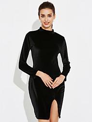 Moulante Robe Femme Soirée Sexy Sophistiqué,Couleur Pleine Col Roulé Mini Manches Longues Polyester Printemps Eté Taille Haute Elastique