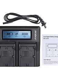 andoer lp-e6 lp-e6n double canal appareil photo numérique chargeur de batterie w / affichage lcd pour canon