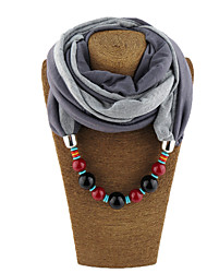 Women's Alloy Resin with Metal Clip Voile Infinity Scarf Solid All Seasons