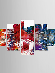 cheap -Stretched Canvas Print Abstract, Five Panels Canvas Any Shape Print Wall Decor Home Decoration