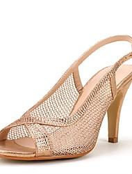 Damen Schuhe Glanz Tüll Sommer Herbst Fersenriemen Sandalen Stöckelabsatz Peep Toe Strass Für Hochzeit Party & Festivität Silber